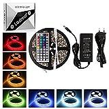 LEDMO Tiras led RGB 12V, 16 Colores rgb tira de led Multicolor, SMD5050-300leds, 12V, IP65 impermeable 5 metros Kit Completo con Control remoto de 44 botones y fuente de alimentación 12V 5A para el Hogar Decorativo.