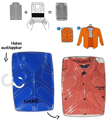 Hemdenbox - blau - incl. Name / kein Hemden knittern mehr - aus Kunststoff - Reisebox - Gepäck - Reisen / Geschäftsreise - Tasche - Box Kiste incl. Kleiderbügel - Hemdentasche - Herren & Damen - Shirtbox - Flugreise / Urlaub - Anzüge / Anzug