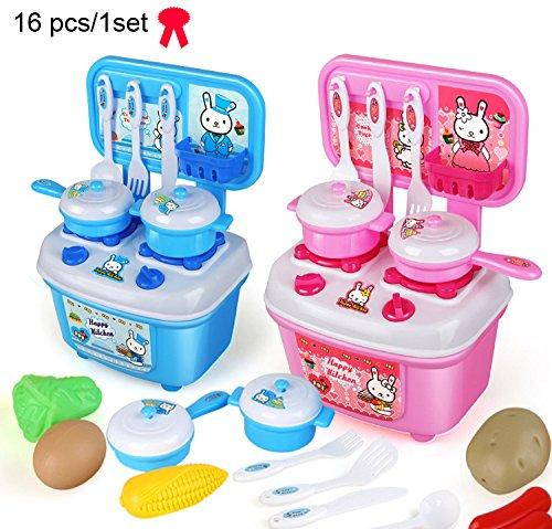 MUITOBOM 16pcs MINI Kitchen Cookware Pot Pan Kids Pretend Cook Play Toy Utensils(1 set, random)