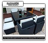 Ragnarök-Möbeldesign PolyRattan - DEUTSCHE Marke - EIGNENE Produktion - 8 Jahre GARANTIE auf UV-Beständigkeit Gartenmöbel Essgruppe Tisch + 4 Stühle & 4 Hocker 12 Polster Schwarz…