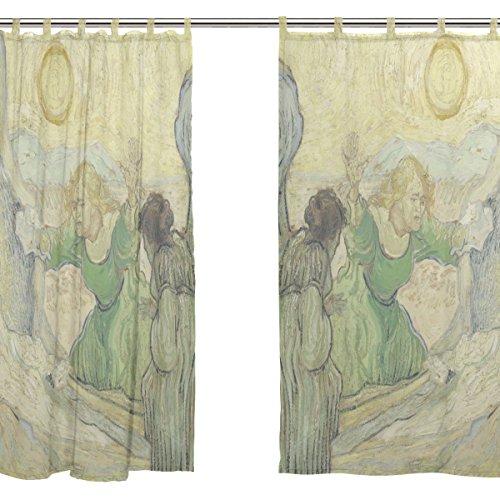 jstel 2pezzi Voile tenda di finestra, van Gogh pittura a olio Sun, Tulle Sheer Curtain Drape Valance 139,7x 198,1cm Set di due pannelli