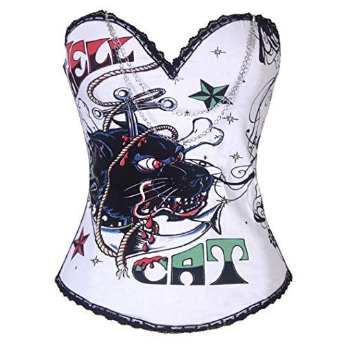 Korsetts und Bustiers für Damen Hell Cat Printed Steampunk Corsage Slimming Waist Burlesque Crop Top -