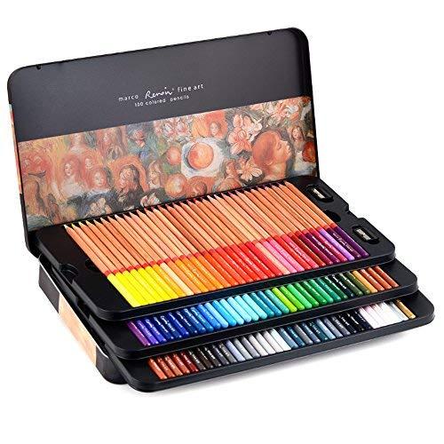 Newdoer, 100 colori ad olio marco renoir, matite ad olio per disegnare, fare schizzi, con astuccio di latta