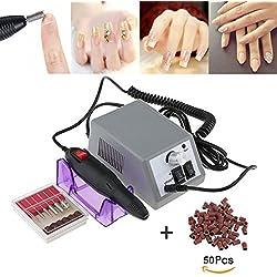 Manucure éléctriqu Ponceuse Pour Ongles Limes a Ongles Ponceuse électrique avec 6 embouts ponçage pour Salon +100pcs bague de ponçage