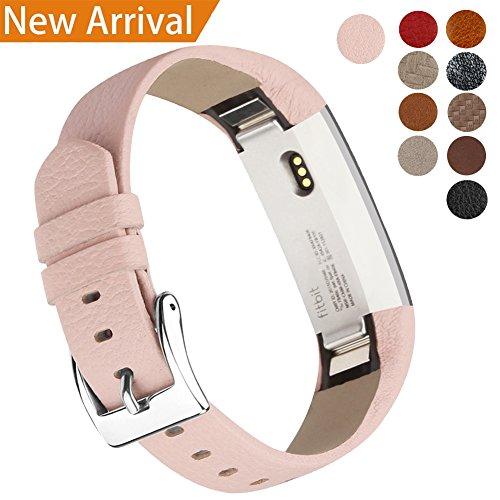 Fitbit Alta Armband Alta HR Armband, Echt Leder Uhrenarmband Lederarmband Erstatzband Sport Armband für Fitbit Alta und Alta HR Unisex Fitness Armband (Rosa)