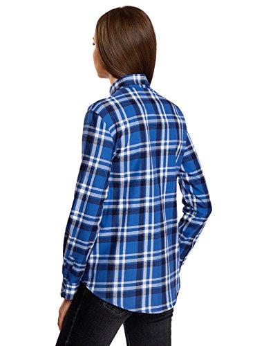 oodji Ultra Damen Baumwoll-Hemd mit Brusttaschen Blau (7510C)