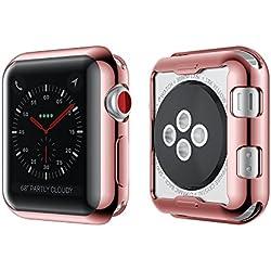 NotoCity Apple Case TPU de Protection Cas de Montre de la Couverture Ultra-Mince pour Apple Watch Nouvelle série 2, série 3 (Apple Watch 38mm, Or Rose)