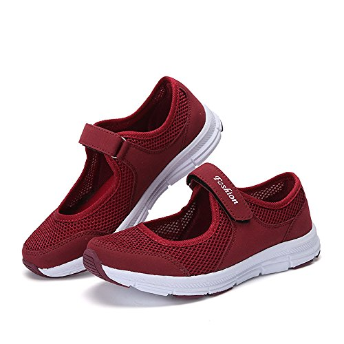 beautyjourney Scarpe da Ginnastica Basse Sandali donna Scarpe basse sneakers estive eleganti donna scarpe da corsa donna Sportive donna scarpe estate sandali (40, Rosso)
