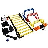 ZauberLu Fußball Training Set Trainingsleiter Fußball Trainingsgeräte Koordinationsleiter Koordinationshürden mit Tragetasche für Anfänger und Fortgeschrittene