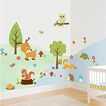 Beautyjourney Animaux De La ForêT Hibou Enfant Chambre à Coucher Fond Sticker Mur Stickers Muraux Phrase Stickers Muraux Pat Patrouille (A)