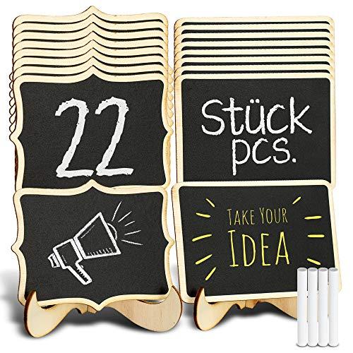 Tritart Mini Kreidetafel mit Ständer I 22 x Holztafel für Tischdeko Geburtstag I Tischaufsteller Hochzeit I Tafel Mini Staffelei für Menü und Buffet I Tafeln inklusive 4X Kreide
