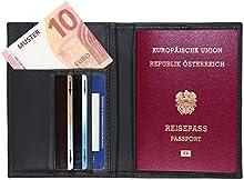 Piel Funda para pasaporte RFID-Funda para pasaporte (como-Funda con compartimentos para tres Tarjetas de Crédito, DNI, práctico y dinero. Inteligente Funda De Viaje.