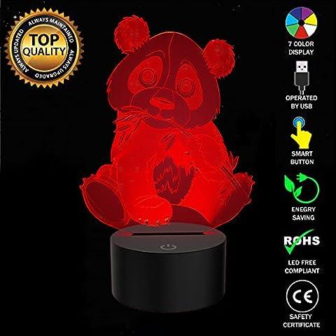 Kreativ 3D Optical Illusion Lampe Giant Panda LED Nachtlichter, FZAI Touch Tischlampe Haus Dekoration 7 Farben Einzigartige Lichteffekte zum Kinder Weihnachtsgeschenk