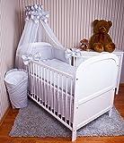 Amilian Baby Bettwäsche 5tlg Bettset mit Nestchen Kinderbettwäsche Himmel 100x135cm Eule Grau Chiffonhimmel
