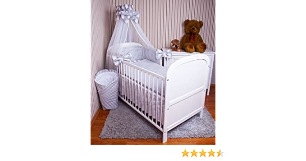 Amilian/® Baby Bettw/äsche 5tlg Bettset mit Nestchen Kinderbettw/äsche Himmel 100x135cm Retro braun Chiffonhimmel