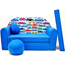 WELOX c21 KindersofaBettfunktion3in1-Kindersessel,Ausziehbett,blauAutosneu, Eierschalenfarbe