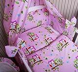 Amilian® Baby Bettwäsche 135/100 + 40/60 - 2tlg Kinderbettwäsche Bettset Eule Rosa