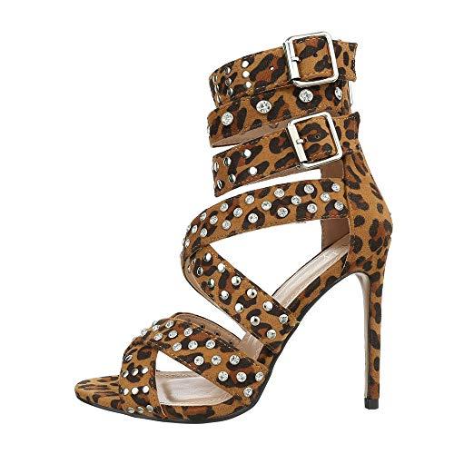 Ital-Design Damenschuhe Sandalen & Sandaletten High Heel Sandaletten Canvas Leo Multi Gr. 38 - Canvas-high-heel-sandalen