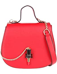 Handbags For Women By Fur Jaden, Red Branded Sling Bag With Attachable Sling Strap For Ladies With Quirky Design
