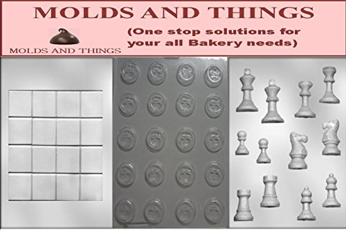 Molds and things 3-Piece Chess and Checkers Pieces and Board Chocolate Molds by MOLDS AND THINGS