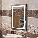 POPSPARK Miroir Salle de Bain avec éclairage LED 9W Lampe de Miroir 50x70cm Miroir Lumineux Solide Verre Trempé