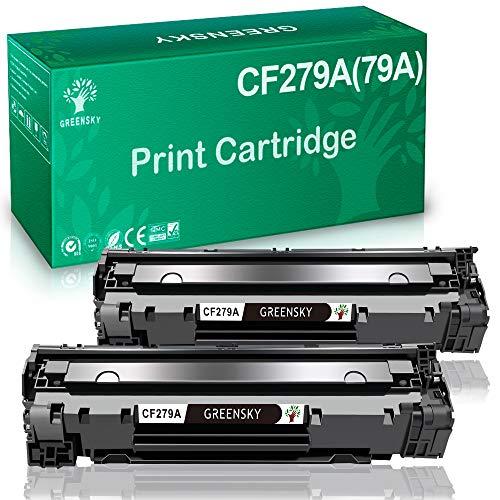 GREENSKY 2 Negro CF279A (79A) Cartuchos de tóner negros compatibles para HP LaserJet Pro M26 M26 M26nw M26a HP LaserJet Pro M12 M12w M12a Impresora (cartuchos/tóner de 1000 páginas)