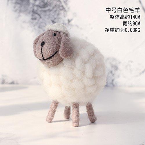 SQBJ Kleine, frische kreative Stricken liebe Kinderzimmer Dekoration Wohnungseinrichtung Wohnzimmer Schlafzimmer möbel Geschenk, Mittlere weisse Wolle Schafe