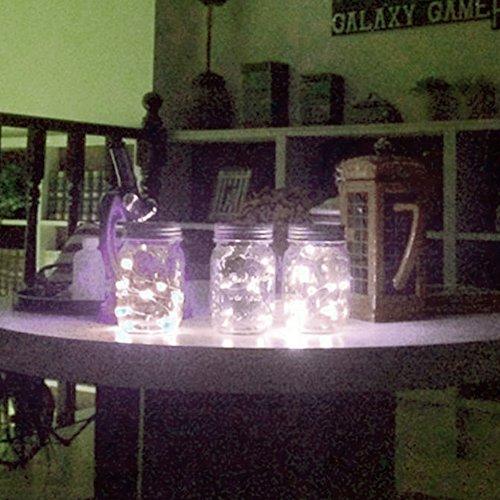 VCHENG 3 Stück Solar Gläser Deckel Licht, LED-Licht Mason Jar Deckel Insert LED String Fairy Lichter für Standard Einmachglas Gläser (Weiß) - 6