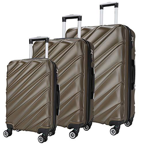 SHAIK ® Serie CANDY Design LHR 3 Größen M | L | XL | Set | Hartschalen Kofferset 40/78/124 Liter, 4 Doppelrollen, 25% mehr Volumen durch Dehnfalte Zahlenschloss (Anthrazit) -