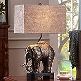 NA Gyy Home Hotel Lighting Chic Elephants lámpara de Escritorio-lámpara de Resina Cuerpo y paño lámpara de sombreado Tipo E27