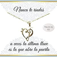 Collar con mensaje corazón clave de Sol y Fa Plata de Ley 925 | Regalos San Valentín mujer | Envío gratis