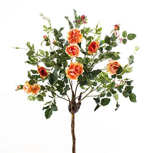 artplants.de Set 4 x Deko Rosenstamm Rosalia, Kunststamm, Blüten, orange, 135cm - 4 Stück Künstliche Rosen - Künstlicher Baum