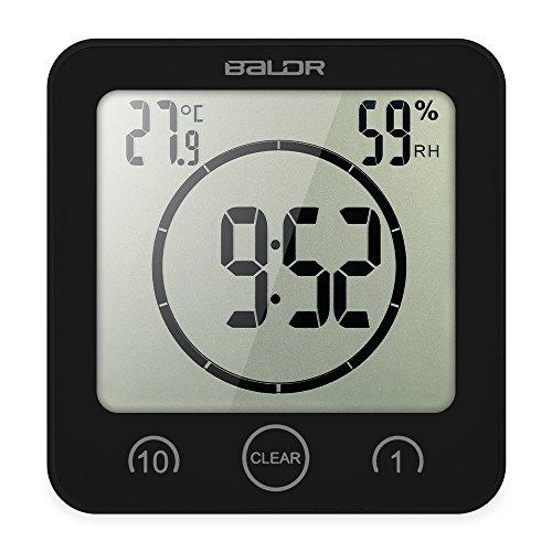 Decdeal Bad Wanduhr Tischuhr mit Temperaturanzeige, Countdown-Timer, Luftfeuchtigkeit (Digital-countdown Wanduhr)