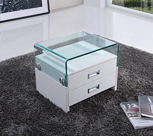 i-flair® – Nachttisch, Nachtkonsole aus hochwertigem Kunstleder und Glas
