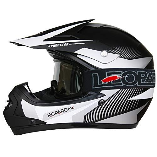 Leopard LEO-X19 {Kinder Motorrad Helm L(53-54cm) + Brille} Weiß Kinder Motocrosshelme Mädchen Jungen Dirt Bike Fullface MX Helm