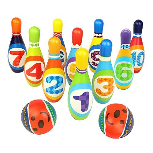 yoptote Bolos Infantiles Sets de Bolos Juguete Bowling Juegos Exterior Jardin 10 Pins Juego de Bolos Esponja Número Pelota Niño 3 Años+