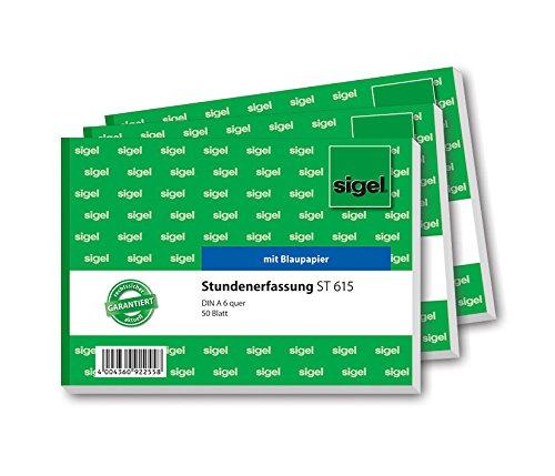 Sigel ST615 Stundenerfassungen A6 quer, 50 Blatt, mit Blaupapier, 3-er Pack