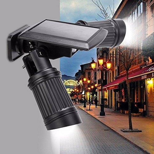 14 LEDs LED Solarlampe, TechCode 14 LEDs Solar Lampe PIR Bewegungssensor Dual Head Spotlight Einstellbare Wasserdichte Wand Led Nachtlicht für Hof Garten Auffahrt. (Solar Dual-head)