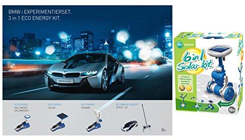 EDU Toys BMW i 3in1 Experimentierkastenkasten mit 1:43 i8 Concept Car mit Powerzelle, Ladestation, ernerbare Energie aus Solar, Dynamo, Salzwasser extra 6in1 Solarexperimente und 1:24 RC