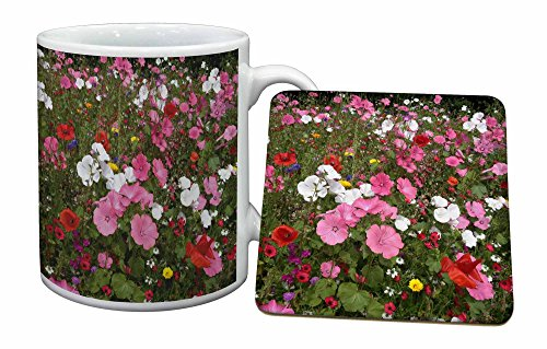 Advanta - Mug Coaster Set Klatschmohn und Wilde Blumen Becher und Untersetzer Tier Gesc Mug Coaster Set
