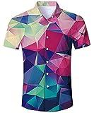 AIDEAONE Herren Geometrie Funky 3D-Grafiken Mode Hemden Kurzarm Regular Fit Hemd
