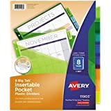 Avery Worksaver Big Tab Plastic Dividers with Slash Pocket, 8 Tab, Letter Size(8.5 x 11), Assorted, 8 per Set (11903)
