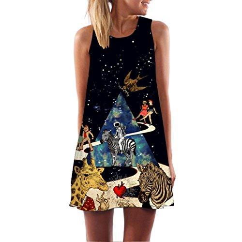 SEWORLD 2018 Damen Sommer Mode Frauen Vintage Boho Frauen Lose Sommer D Katzen Blumen Drucken Abendkleid Ärmellose 3A-Line Bohe Camis Tank Party Schwarz Abendkleid (A-e-Schwarz,XXL)
