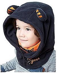 d5174c62c3c Bigood Enfant Cagoule Doux Hiver Bonnet Cache Oreille Capuche Animal 44-56cm