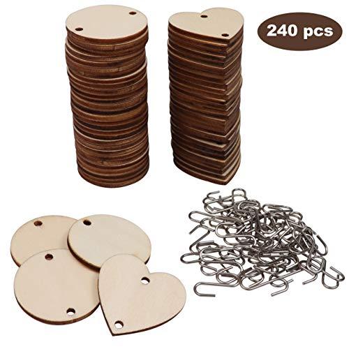 Natur Holzscheiben zum Basteln (240-teilig) - Holz Kreise (60 Stück) und Holzherzen Anhänger (60 Stück) mit Haken in S Form für Bastelprojekte (120 Stück) ? Perfekt als Hochzeitsdeko, Geschenke, DIY -