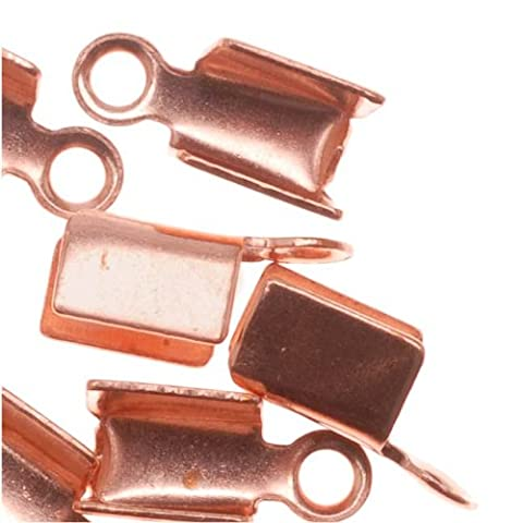 Genuine Copper Foldover 3mm Cord Ends For Ribbon, Leather (x50)