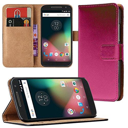 Eximmobile - Book Case Handyhülle für Motorola Moto G 2. Generation mit Kartenfächer | Schutzhülle aus Kunstleder | Handytasche als Flip Case | Cover in Pink Handy Tasche Etui Hülle Kunstledertasche
