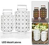 2er Set Laternen mit LED Beleuchtung, 27 & 30 cm Höhe, hängende Laternen mit integrierter LED Kerze. Außenbeleuchtung für Garten, Balkon und Terrasse.