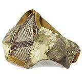 QMFIVE Tactical plegable ajustable y correa de cinturón elástico de malla protectora mascara mascara de media cara para Airsoft Paintball CS(A ATCS)