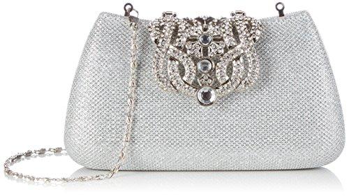 KAXIDY Donna Pochette Borsa Sacchetto Borsetta Da Sera Borsa Diamante Portafoglio Frizioni (Argento)